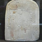 Offering to Henut-Mestjet. Third Intermediate Period. Necropolis north of Abydos. Limestone with some paint remaining. Musées Royaux d'Art et d'Histoire E.6251
